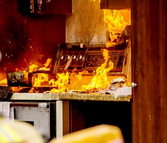 Kitchen engulfed in flames